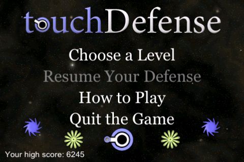 Introduction screen for touchDefense.