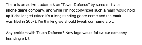 Email from Luke on naming touchDefense.