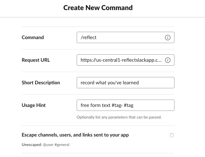 Adding a new Slash Command for Slack