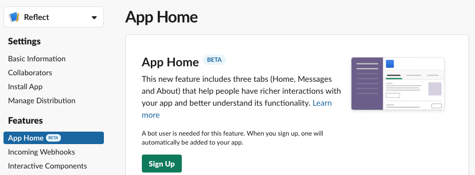Sign up for App Home