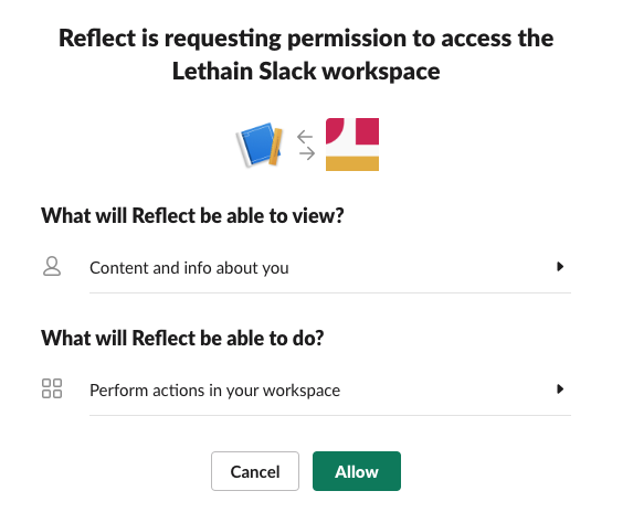 Approve permissions for Reflect app in your workspace