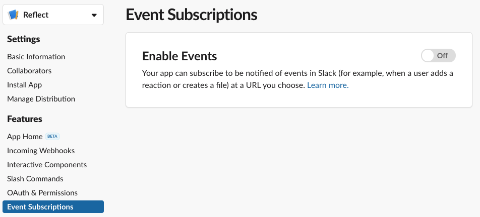 Enable Events screen in Slack