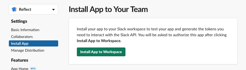 Install the Reflect app in your workspace