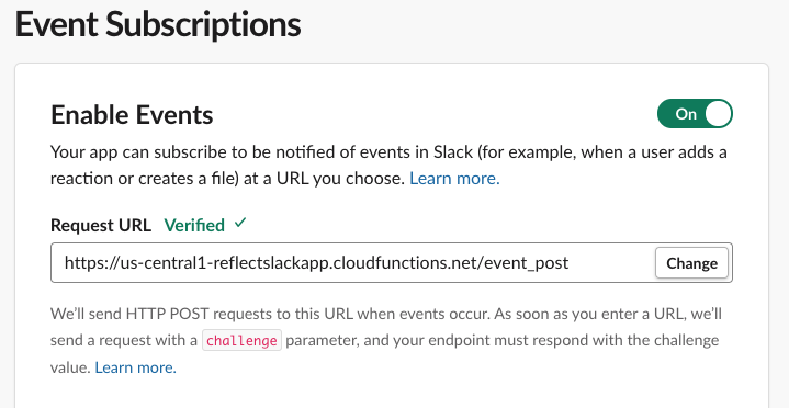 Register request url for Slack Event Subscription