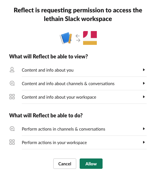 Slack grant permissions for Reflect app page