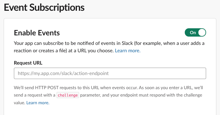 Add Request URL for Events API screen in Slack