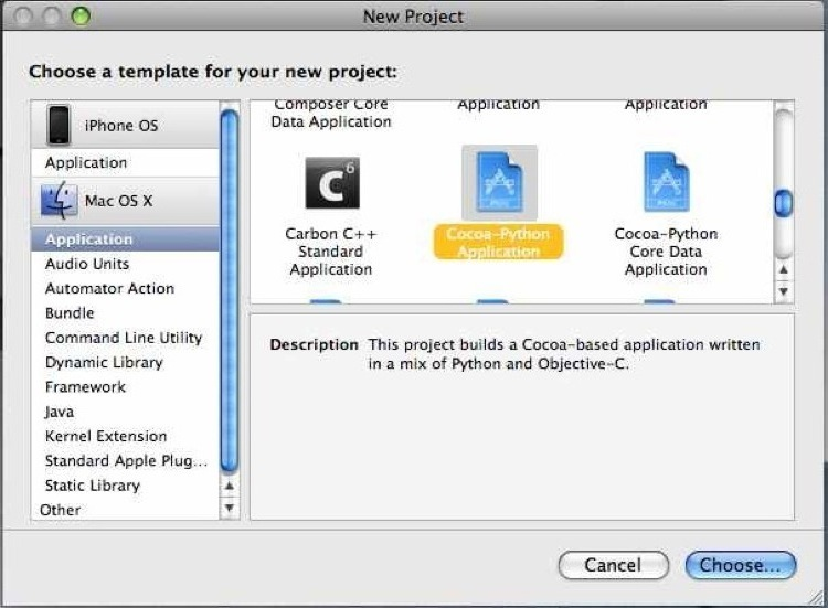 Creating a new Cocoa/Python project in XCode.