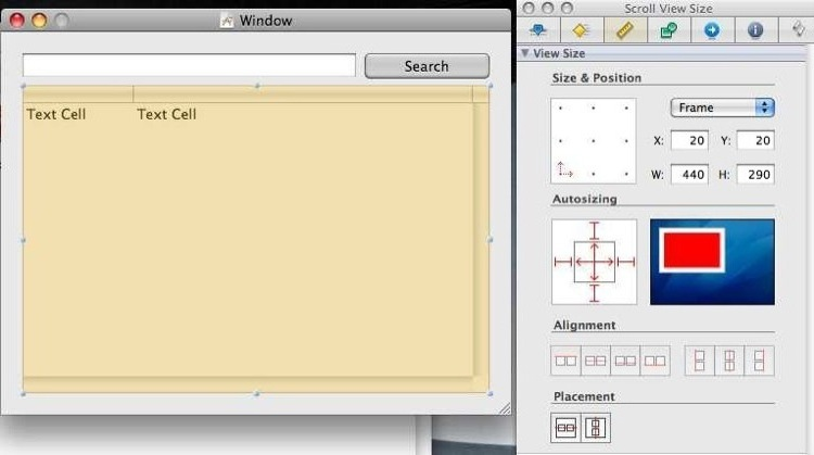 Editing the autosizing logic for a table in InterfaceBuilder.
