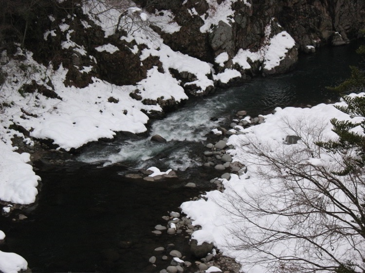 A picture of snow rapids in Kamioka-cho, Hida-shi, Gifu-ken, Japan.