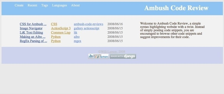 A picture of AmbushCodeReview.com's front page.