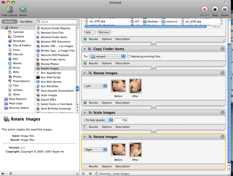 A picture of an Automator workflow for horizontally scaling images.