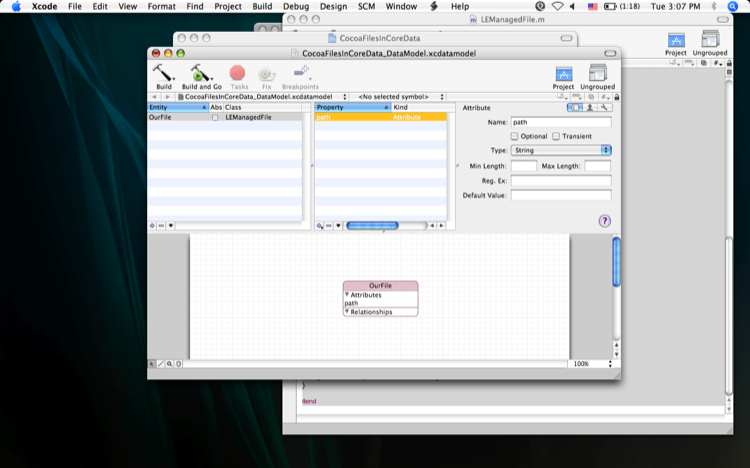 Image of an added attribute in CoreData management GUI.