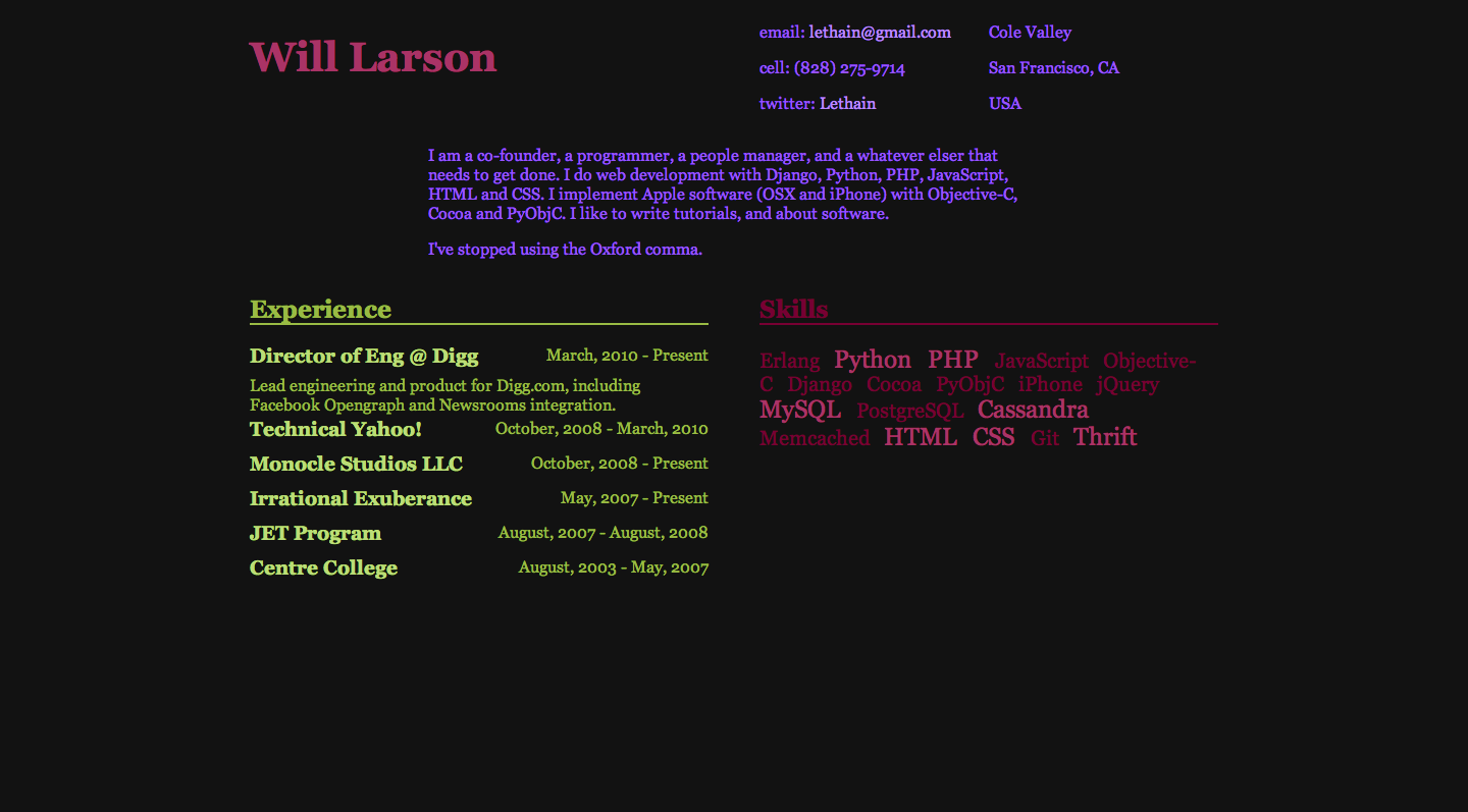 Old screenshot of Willarson.com