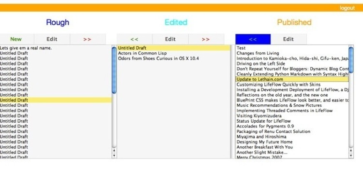 A screenshot of the overview screen for LifeFlow Editor