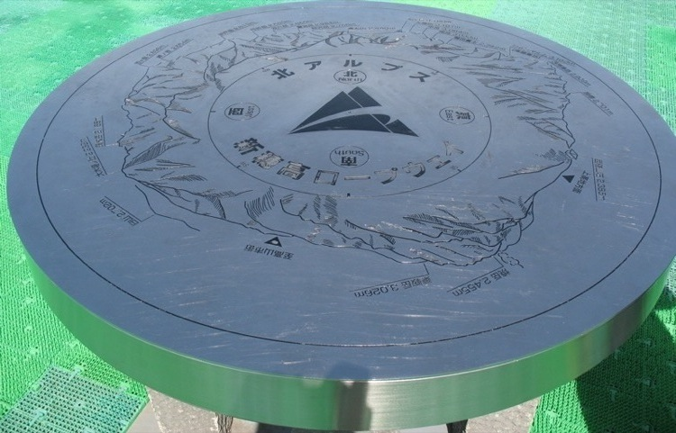 A metal slab which serves as a map for nearby mountains.