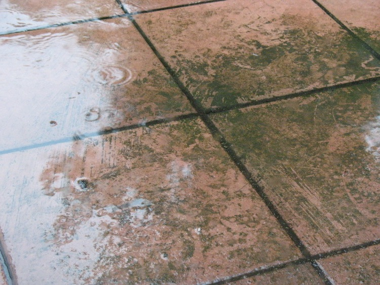 A picture of muddy tiles with a thin layer of water on top.