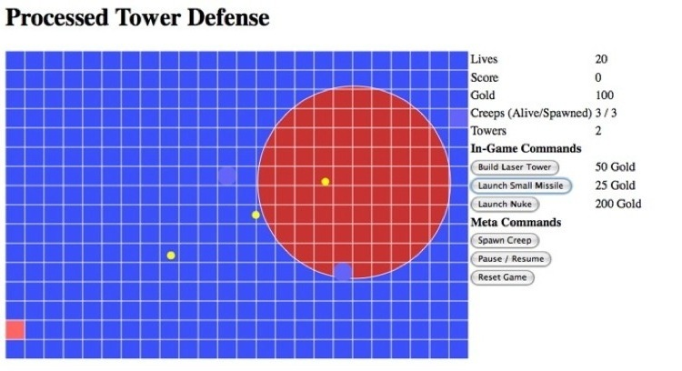 Processed Tower Defense in Processing.js