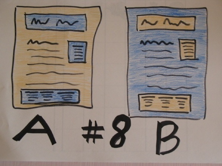 Two webpage layouts, labeled with an A and a B.